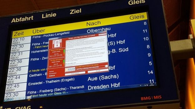 A railway station system in Chemnitz, eastern Germany, is infected