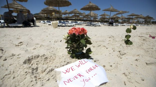 Flowers on Sousse beach, 28 June 2015