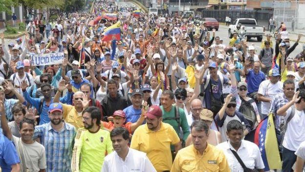 Protesta en contra del gobierno de Venezuela.