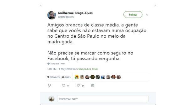 Captura de tela de mensagem no Twitter criticando usuários que se marcaram como seguros em incêndio em São Paulo