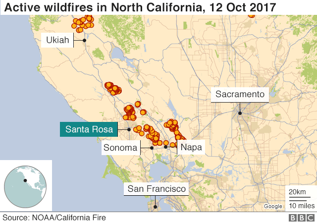California Wildfires Calistoga Evacuated Amid Blazes BBC News - Map of california cities and towns