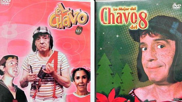 Afiche de dos DVD de El Chavo del Ocho.