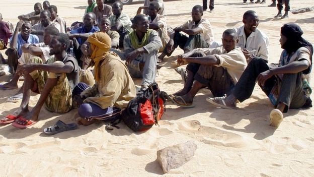 Migrants in the Sahara Desert