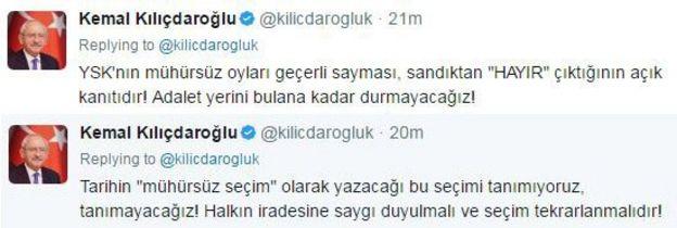 Kemal Kılıçdaroğlu tweet