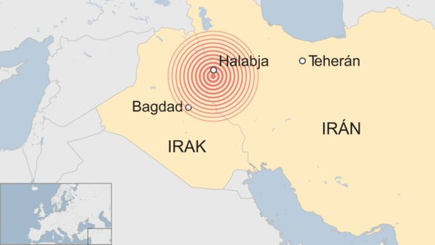 Mapa de la zona donde afectó el terremoto entre Irak e Irán