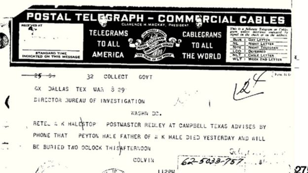 Documento da investigação do FBI