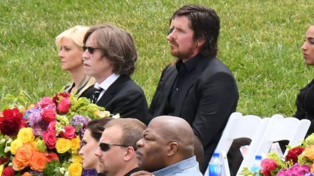 Actor Christian Bale attends the funeral and memorial service (26 May 2017)