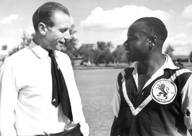 Stanley Matthews and a Kenyan player