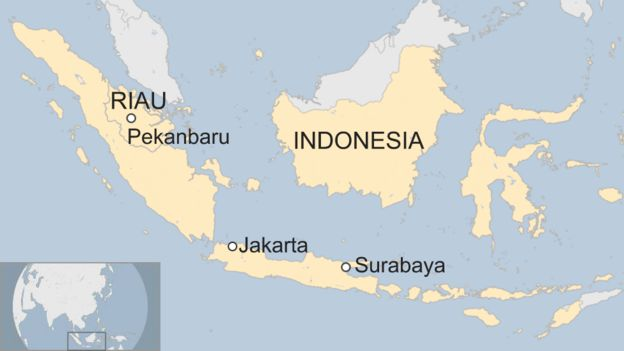 Map showing the location of the town of Pekanbaru in Riau province, Indonesia in relation to the capital Jakarta and the city of Sidoarjo