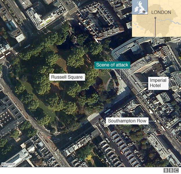 A map of Russell Square and the attack