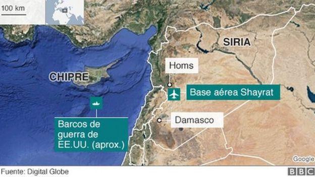 Mapa de la base aérea Al Shayrat