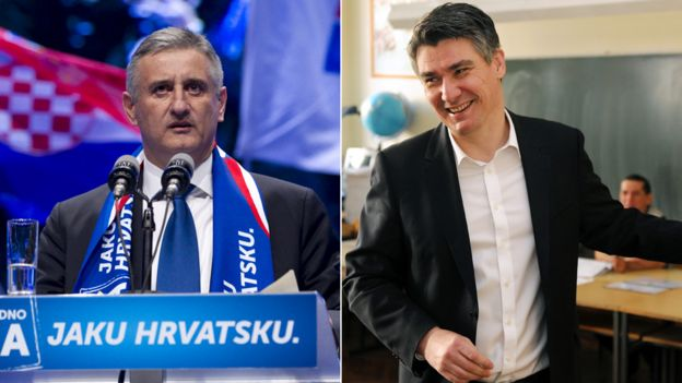 Composite image of Croatian electoral candidates Tomislav Karamarko (left) and Zoran Milanovic (right) - 8 November 2015