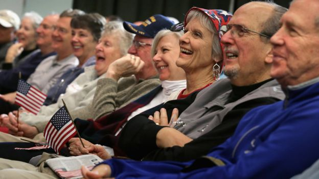 Senior citizens listen to Republican presidential candidate Sen. Marco Rubio (R-FL) as he answers questions during a campaign town hall meeting at the Sun City Hilton Head's Magnolia Hall February 11, 2016