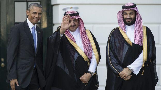 Barack Obama e o príncipe herdeiro de Arábia Saudita, Mohammed bin Nayef