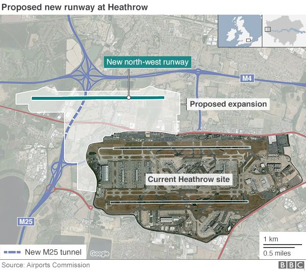 Map Showing Proposed New Runway At Heathrow