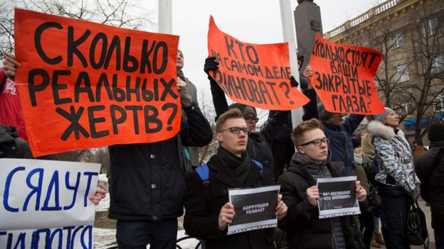 Kemerovo mourners at rally, 27 Mar 18
