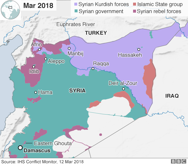 Map showing territory control in Syria