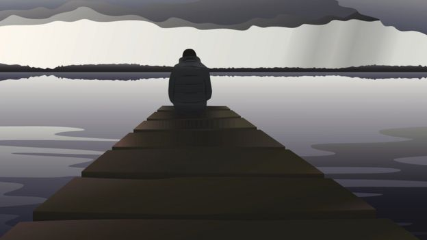 illustration of a young man on a dock