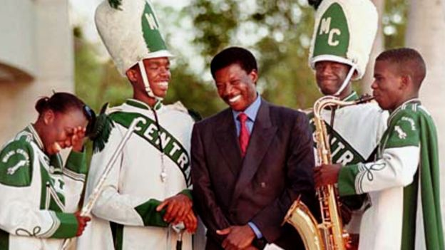 Sissoko with members of the high school band