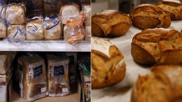 Tipos de pan en un supermercado