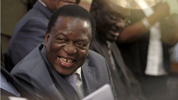 Zimbabwe Vice-President Emmerson Mnangagwa listens as President Robert Mugabe (not pictured) delivers his state of the nation address to the country