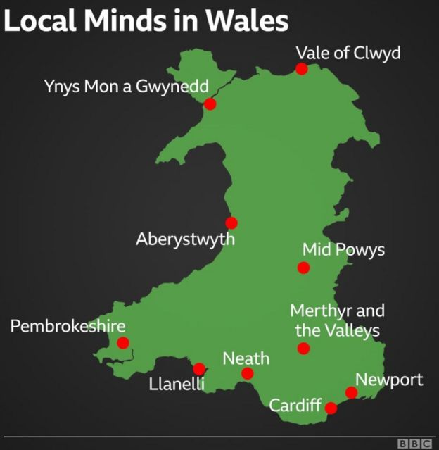 A graphic showing where Mind Cymru's Local Minds are in Wales