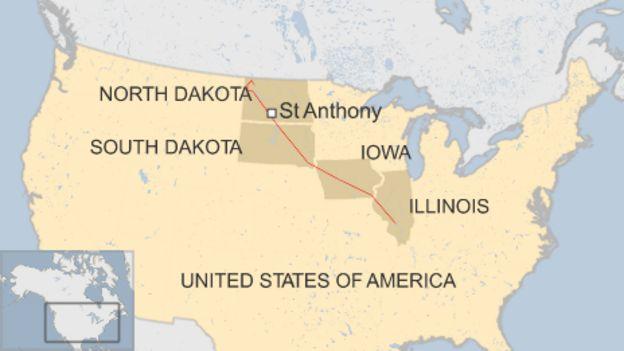 Map Showing Pipeline Running Through North Dakota South Dakota Iowa And Illinois Also