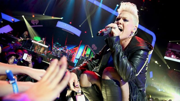 Singer Pink performs onstage during the 2012 iHeartRadio Music Festival