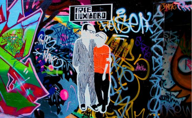 Street art showing Liu Xiaobo and Liu Xia in Melbourne