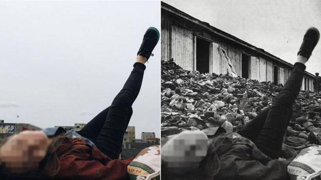 Mujer con pierna en el aire en el memorial.