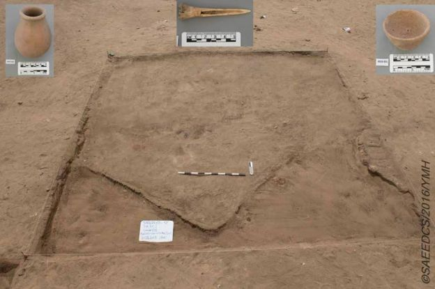 Picture shows objects that were found in a city unearthed in southern Egypt that has been described as more than 5,000 years old.