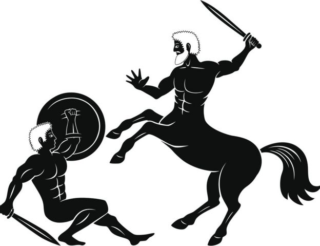 Graphic of centaur fighting warrior