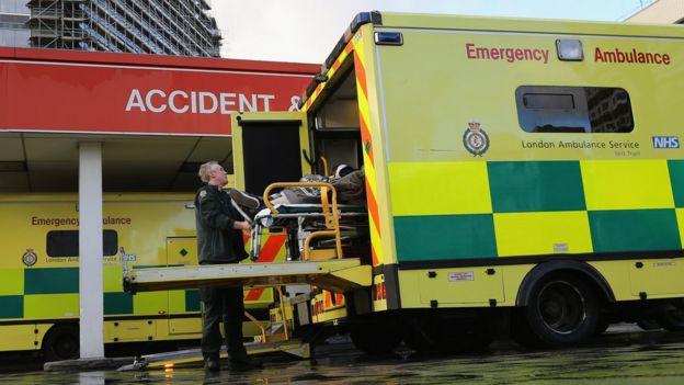 英国国民保健署的救护车。(资料图片)