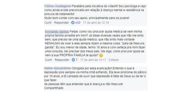 Comentários no facebook de Felipe Neto