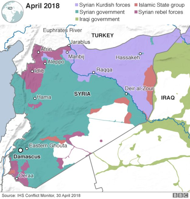 A map showing who controls what in war-torn Syria