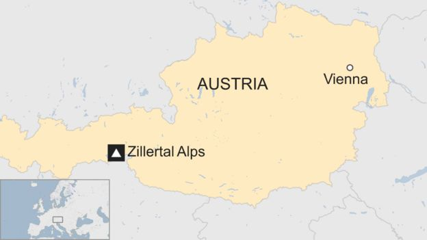 A map showing the location of the Zillertal Alps in Austria