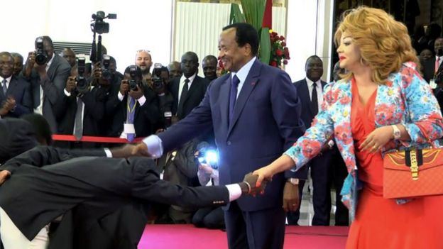 President Paul Biya (L) and his wife Chantal Biya in Yaounde