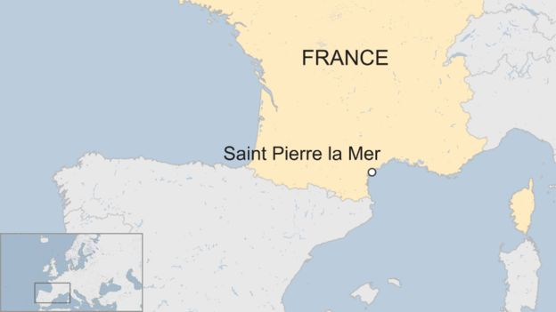 map of France showing location of Saint Pierre la Mer