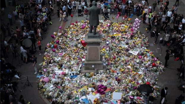 Floral tributes to the victims in St Ann's Square, Manchester