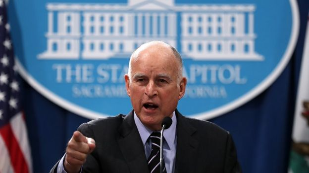 California Governor Jerry Brown speaks to reporters during a news conference in Sacramento, 11 May 2017