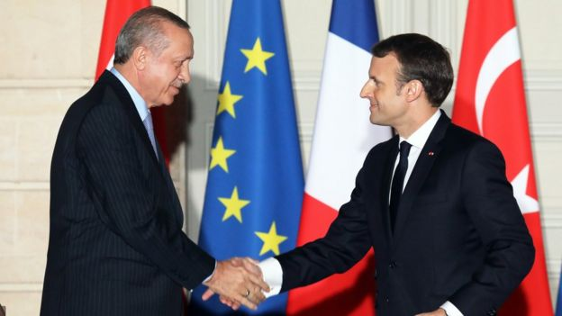 Recep Tayyip Erdogan and Emmanuel Macron - 5 January