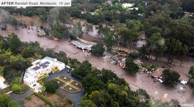 aerial shot of Randall Road, Montecito on 10 January, with huge mudslide ripping through the debris left by destroyed houses