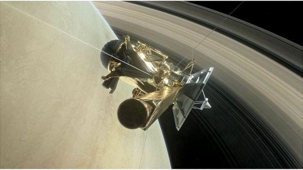 Ilustração da Cassini entrando na atmosfera de Saturno