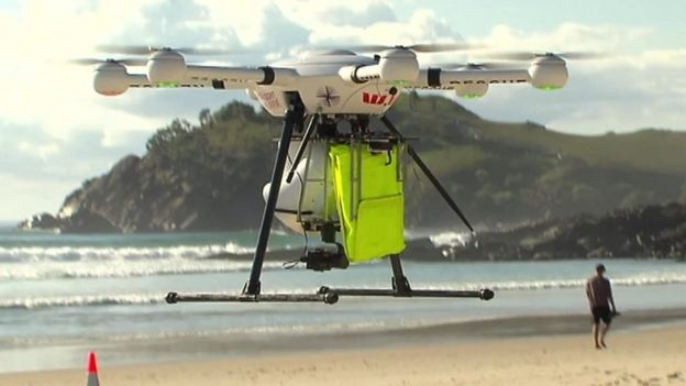 A picture of a drone hovering above a beach in New South Wales, Australia