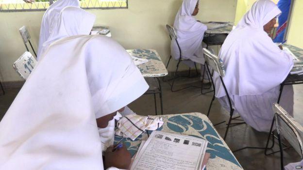 Niñas en una escuela musulmán.