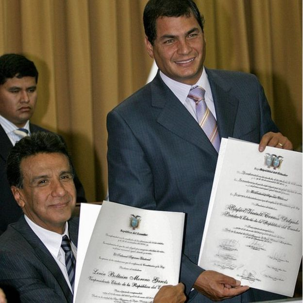 Rafael Correa junto a Lenín Moreno cuando eran presidente y vicepresidente respectivamente.