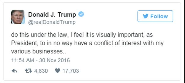 A tweet from Donald Trump reads: