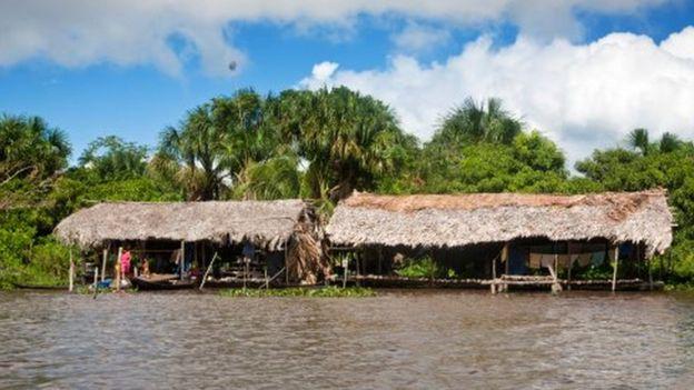 Una de las casas de los indígenas warao en la Delta del Orinoco, Venezuela.