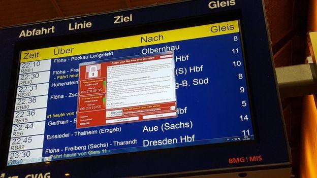 Pantalla de salidas de trenes en Alemania con el virus.