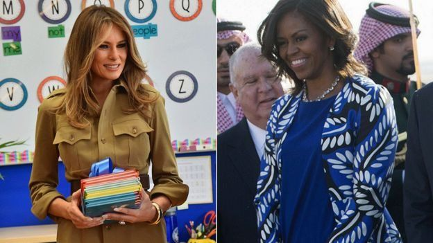 Melania Trump in a safari dress and Michelle Obama in a dress and jacketImage copyright